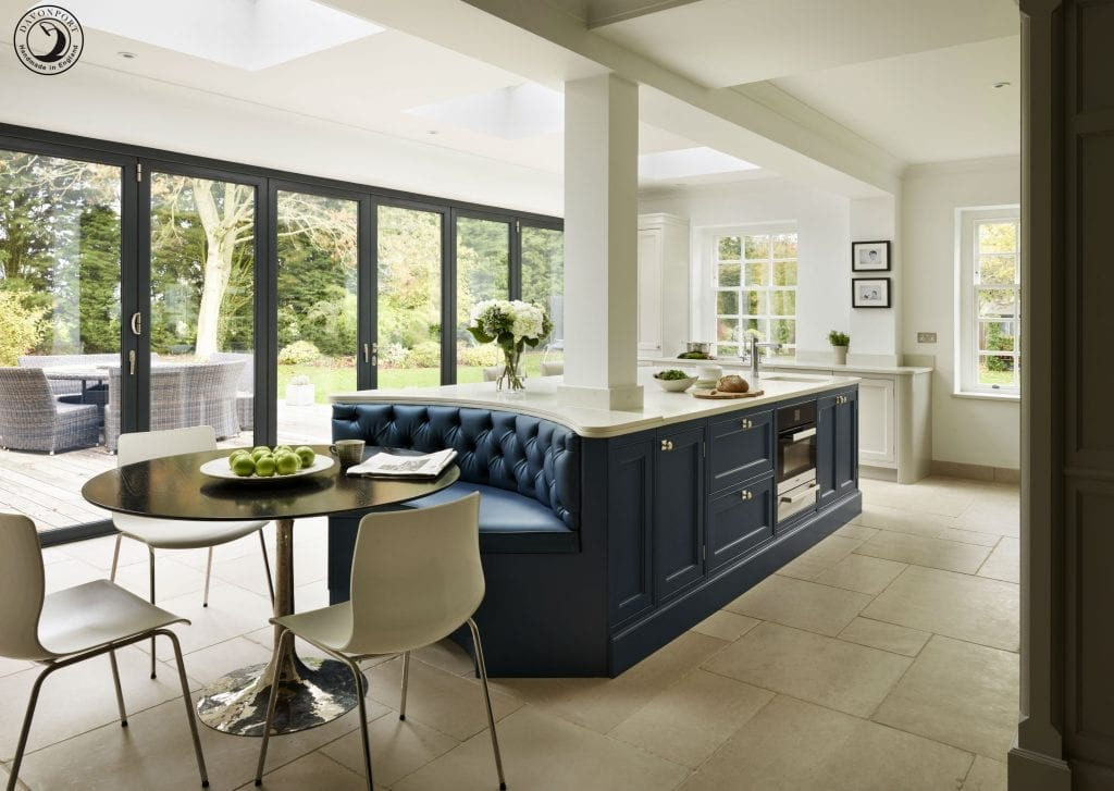 bespoke kitchen island in blue