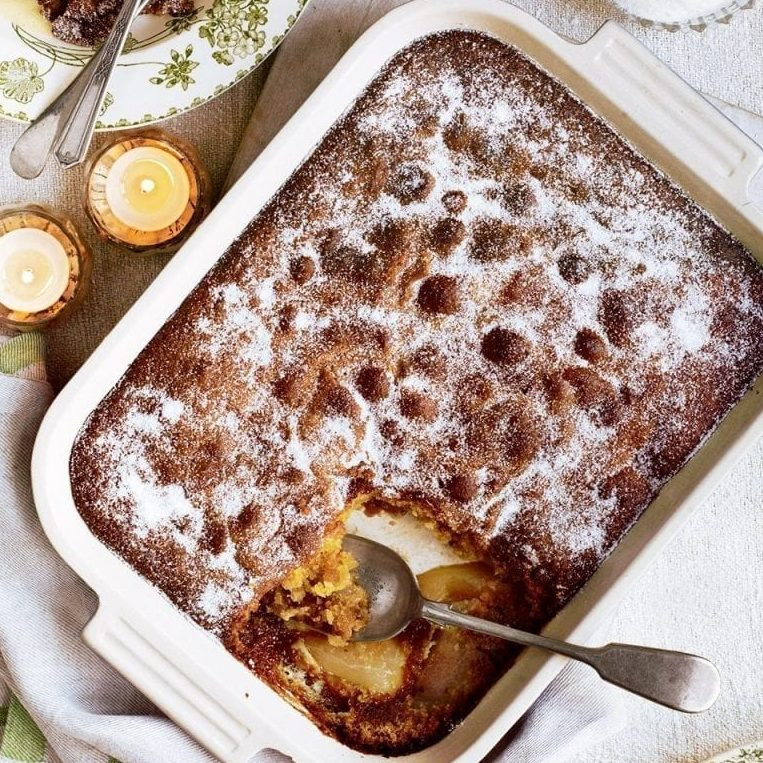 Pear and ginger Eve's pudding with brown sugar custard