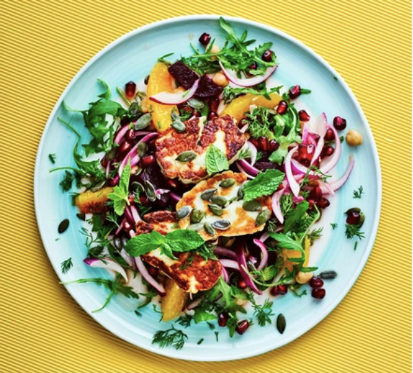 Beetroot & Halloumi Salad With Pomegranate And Dill